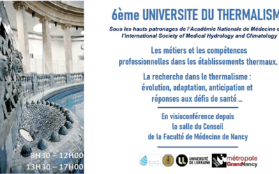 December 3rd (8:30 a.m. – 5:00 p.m.), webinar : 6th University of Thermalism
